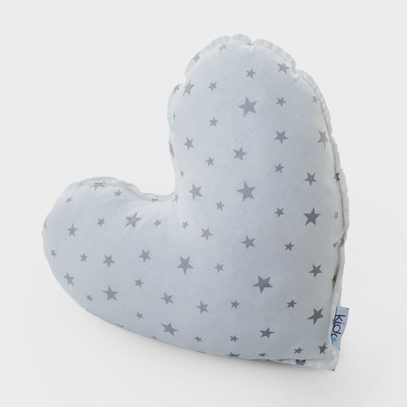 KIDO Ukrasni jastučić u obliku srca sa sivim zvezdicama