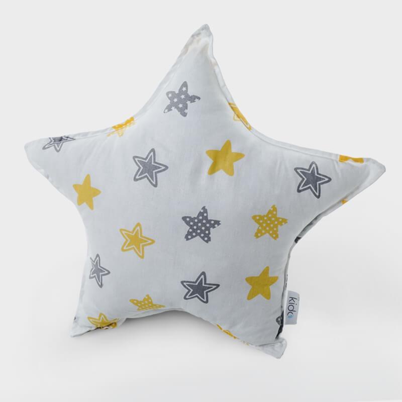KIDO Ukrasni jastučić u obliku zvezde sa žutim-sivim zvezdicama