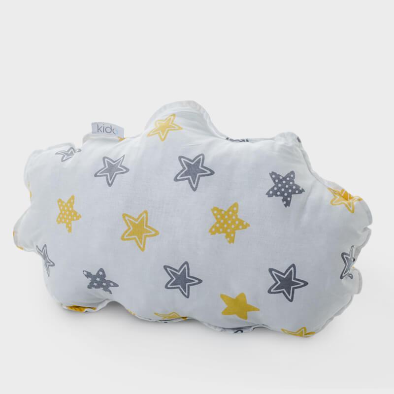 KIDO Ukrasni jastučić u obliku oblaka sa žuto-sivim zvezdicama