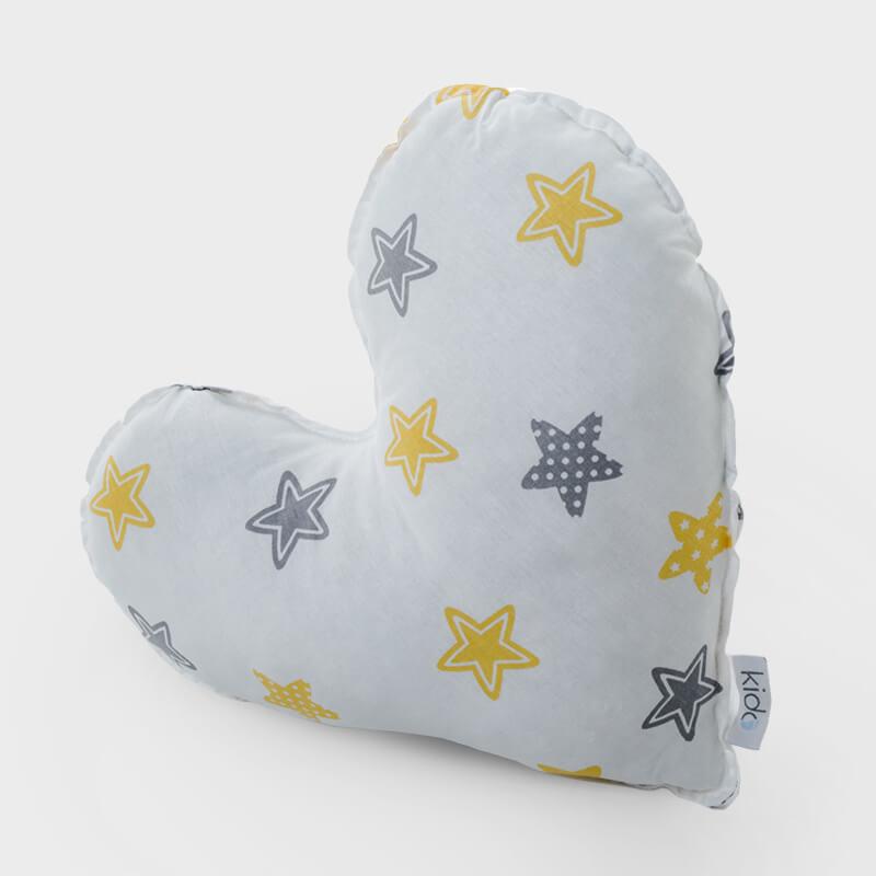 KIDO Ukrasni jastučić u obliku srca sa žuzo-sivim zvezdicama