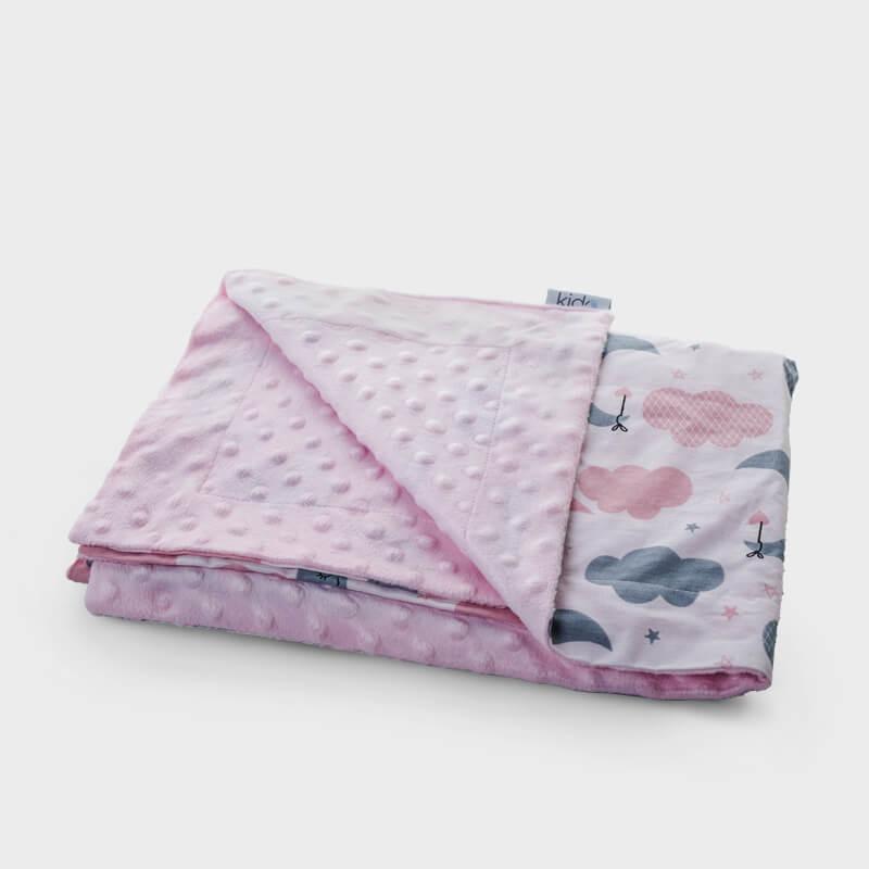KIDO roze minky prekrivač za bebe sa šarenim mesecima i oblačićima.