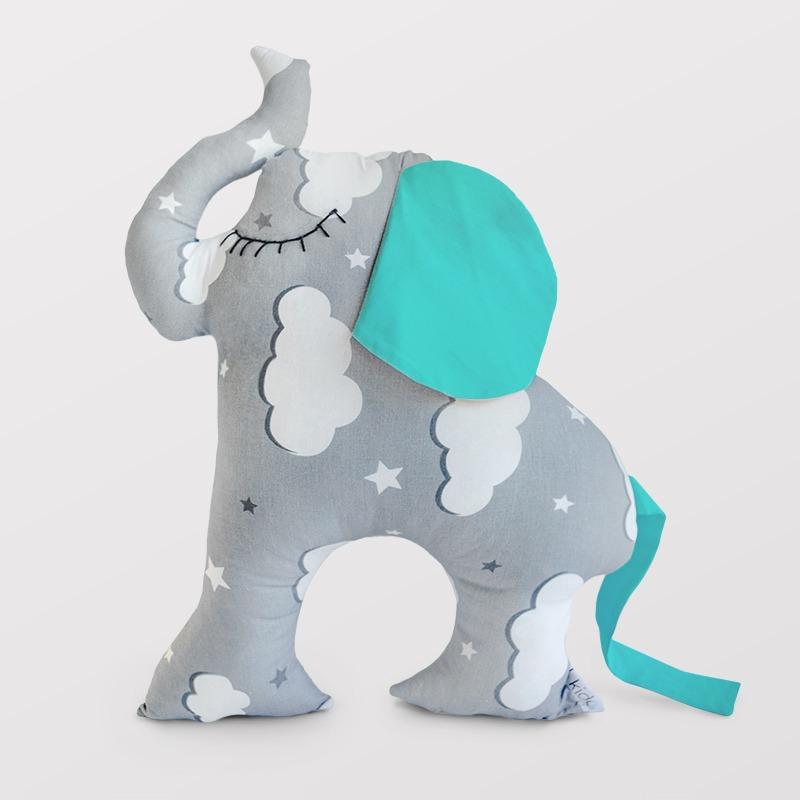 KIDO ukrasni jastuk slon sa tirkiznim ušima