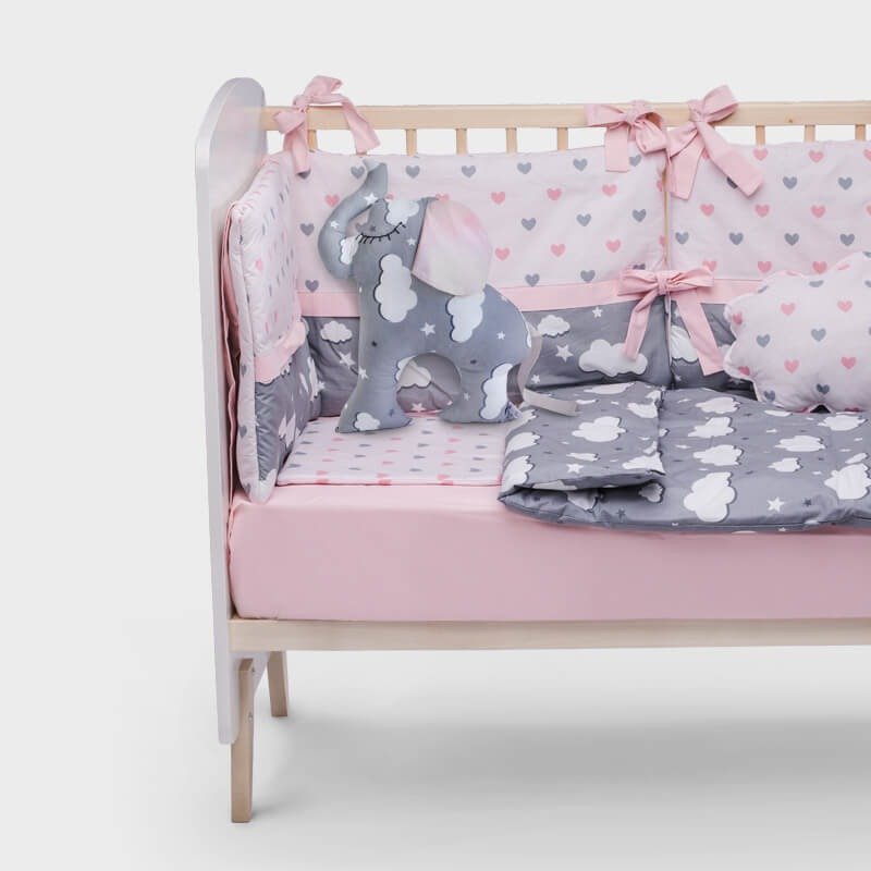 KIDO poklon paket - ogradica za krevetac i ukrasni jastuk slonče u nijansama sive i roze boje